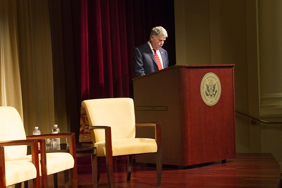 Archivist of the United States David Ferriero gives opening remarks at the start of the Brown Roundtable event.